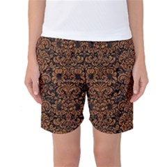 Damask2 Black Marble & Rusted Metal (r) Women s Basketball Shorts by trendistuff
