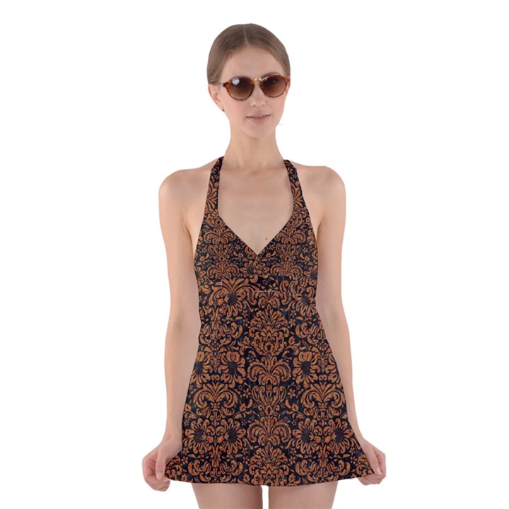 DAMASK2 BLACK MARBLE & RUSTED METAL (R) Halter Dress Swimsuit