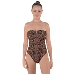 Damask2 Black Marble & Rusted Metal (r) Tie Back One Piece Swimsuit by trendistuff