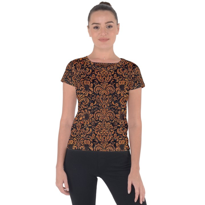 DAMASK2 BLACK MARBLE & RUSTED METAL (R) Short Sleeve Sports Top