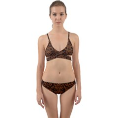 Damask2 Black Marble & Rusted Metal (r) Wrap Around Bikini Set