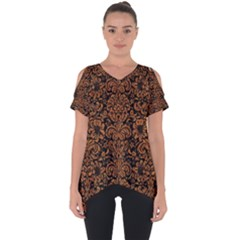 Damask2 Black Marble & Rusted Metal (r) Cut Out Side Drop Tee by trendistuff