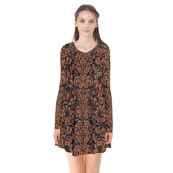 DAMASK2 BLACK MARBLE & RUSTED METAL (R) Flare Dress