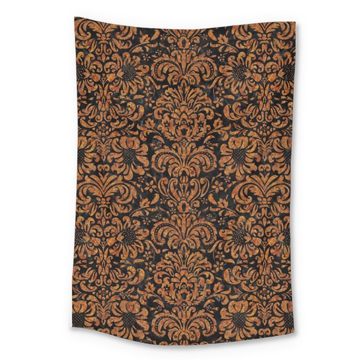 DAMASK2 BLACK MARBLE & RUSTED METAL (R) Large Tapestry