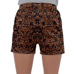 Damask2 Black Marble & Rusted Metal (r) Sleepwear Shorts by trendistuff