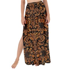 Damask2 Black Marble & Rusted Metal (r) Maxi Chiffon Tie Up Sarong
