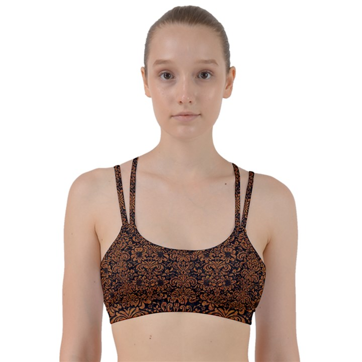 DAMASK2 BLACK MARBLE & RUSTED METAL (R) Line Them Up Sports Bra