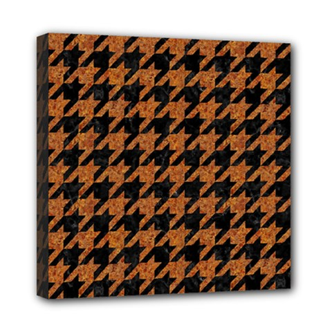 Houndstooth1 Black Marble & Rusted Metal Mini Canvas 8  X 8