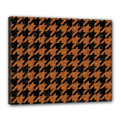 Houndstooth1 Black Marble & Rusted Metal Canvas 20  X 16  by trendistuff