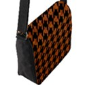 HOUNDSTOOTH1 BLACK MARBLE & RUSTED METAL Flap Messenger Bag (L)  View2