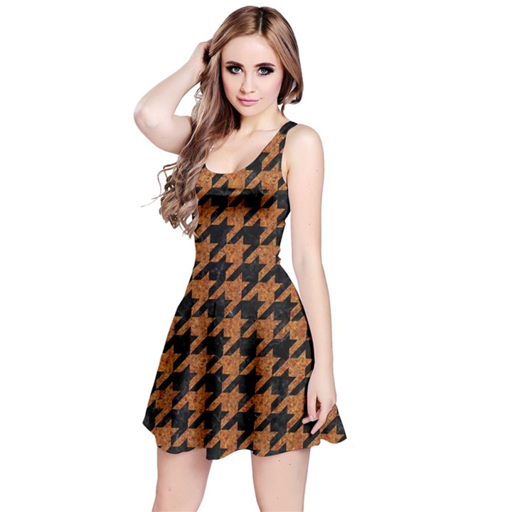 HOUNDSTOOTH1 BLACK MARBLE & RUSTED METAL Reversible Sleeveless Dress