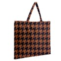 HOUNDSTOOTH1 BLACK MARBLE & RUSTED METAL Zipper Large Tote Bag View2