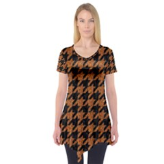 Houndstooth1 Black Marble & Rusted Metal Short Sleeve Tunic  by trendistuff