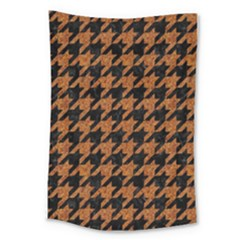 Houndstooth1 Black Marble & Rusted Metal Large Tapestry by trendistuff