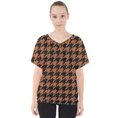 Houndstooth1 Black Marble & Rusted Metal V Neck Dolman Drape Top