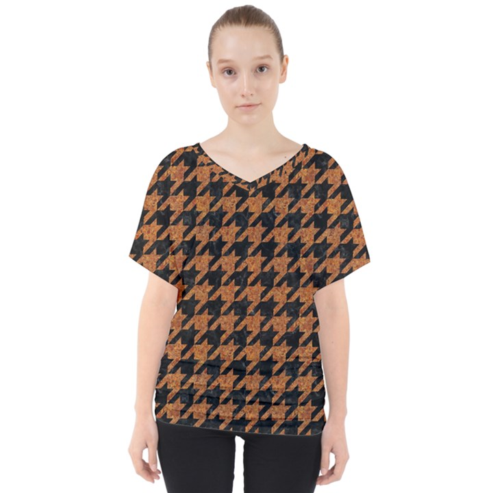 HOUNDSTOOTH1 BLACK MARBLE & RUSTED METAL V-Neck Dolman Drape Top