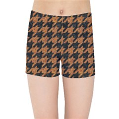 Houndstooth1 Black Marble & Rusted Metal Kids Sports Shorts