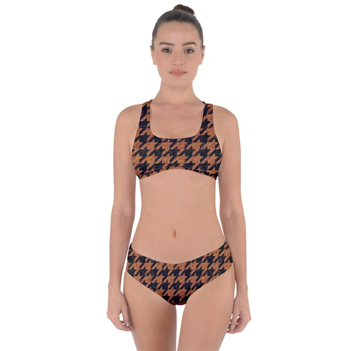 HOUNDSTOOTH1 BLACK MARBLE & RUSTED METAL Criss Cross Bikini Set