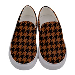 Houndstooth1 Black Marble & Rusted Metal Women s Canvas Slip Ons