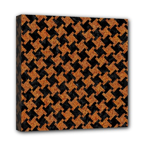 HOUNDSTOOTH2 BLACK MARBLE & RUSTED METAL Mini Canvas 8  x 8