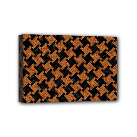 HOUNDSTOOTH2 BLACK MARBLE & RUSTED METAL Mini Canvas 6  x 4