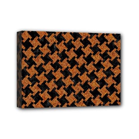 HOUNDSTOOTH2 BLACK MARBLE & RUSTED METAL Mini Canvas 7  x 5