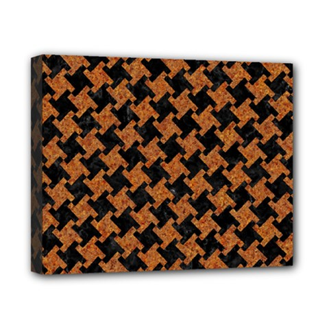 HOUNDSTOOTH2 BLACK MARBLE & RUSTED METAL Canvas 10  x 8