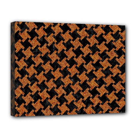 HOUNDSTOOTH2 BLACK MARBLE & RUSTED METAL Canvas 14  x 11