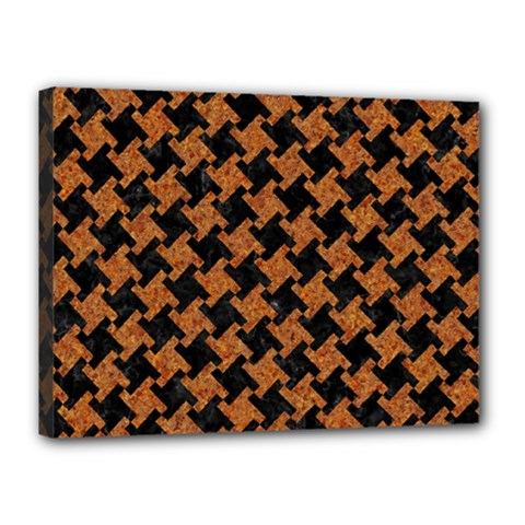 HOUNDSTOOTH2 BLACK MARBLE & RUSTED METAL Canvas 16  x 12