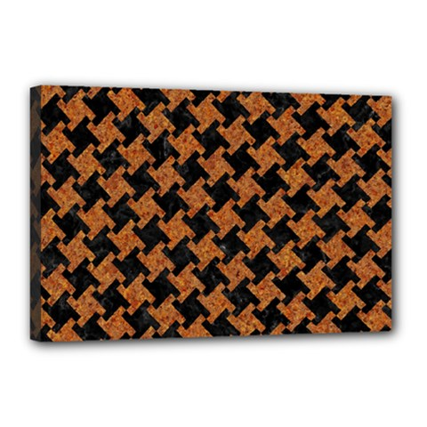 HOUNDSTOOTH2 BLACK MARBLE & RUSTED METAL Canvas 18  x 12