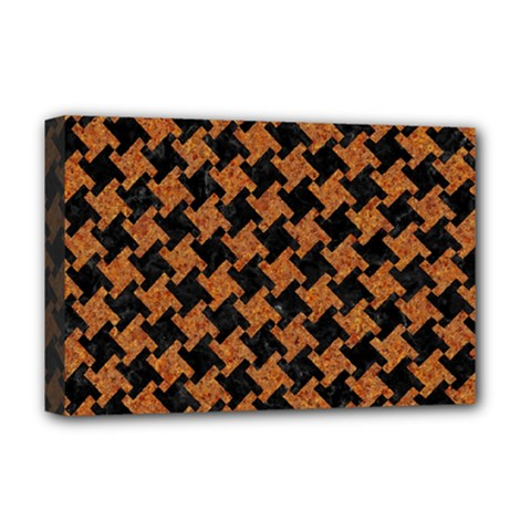 HOUNDSTOOTH2 BLACK MARBLE & RUSTED METAL Deluxe Canvas 18  x 12