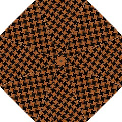 HOUNDSTOOTH2 BLACK MARBLE & RUSTED METAL Hook Handle Umbrellas (Large)