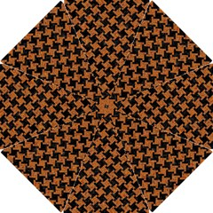 HOUNDSTOOTH2 BLACK MARBLE & RUSTED METAL Hook Handle Umbrellas (Small)
