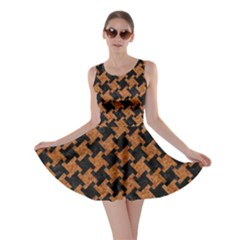 HOUNDSTOOTH2 BLACK MARBLE & RUSTED METAL Skater Dress