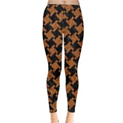 HOUNDSTOOTH2 BLACK MARBLE & RUSTED METAL Leggings
