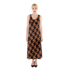 HOUNDSTOOTH2 BLACK MARBLE & RUSTED METAL Sleeveless Maxi Dress