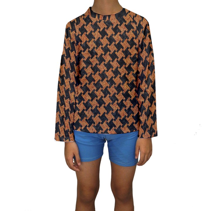 HOUNDSTOOTH2 BLACK MARBLE & RUSTED METAL Kids  Long Sleeve Swimwear