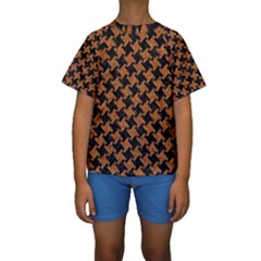 HOUNDSTOOTH2 BLACK MARBLE & RUSTED METAL Kids  Short Sleeve Swimwear