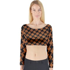 HOUNDSTOOTH2 BLACK MARBLE & RUSTED METAL Long Sleeve Crop Top