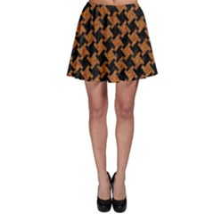 HOUNDSTOOTH2 BLACK MARBLE & RUSTED METAL Skater Skirt