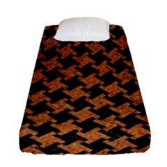 HOUNDSTOOTH2 BLACK MARBLE & RUSTED METAL Fitted Sheet (Single Size)