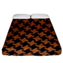 HOUNDSTOOTH2 BLACK MARBLE & RUSTED METAL Fitted Sheet (Queen Size) View1