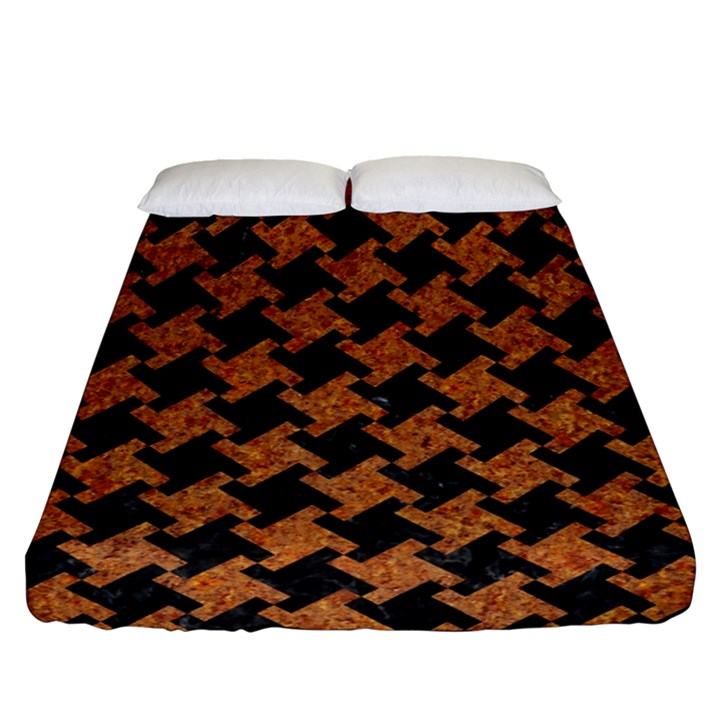 HOUNDSTOOTH2 BLACK MARBLE & RUSTED METAL Fitted Sheet (Queen Size)