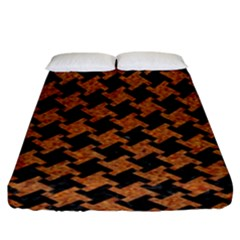 HOUNDSTOOTH2 BLACK MARBLE & RUSTED METAL Fitted Sheet (King Size)