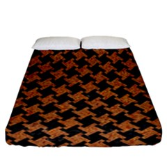 HOUNDSTOOTH2 BLACK MARBLE & RUSTED METAL Fitted Sheet (California King Size)
