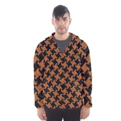 HOUNDSTOOTH2 BLACK MARBLE & RUSTED METAL Hooded Wind Breaker (Men)