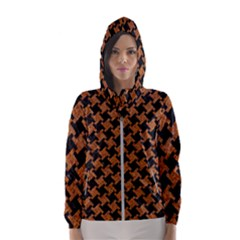 HOUNDSTOOTH2 BLACK MARBLE & RUSTED METAL Hooded Wind Breaker (Women)