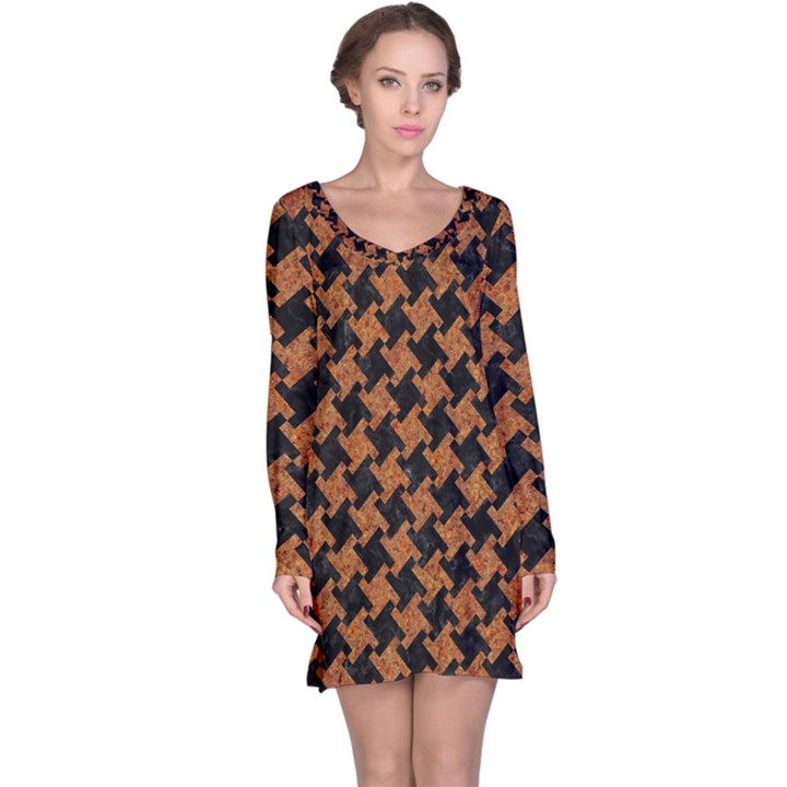 HOUNDSTOOTH2 BLACK MARBLE & RUSTED METAL Long Sleeve Nightdress