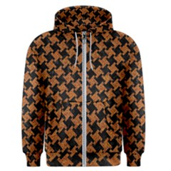 HOUNDSTOOTH2 BLACK MARBLE & RUSTED METAL Men s Zipper Hoodie