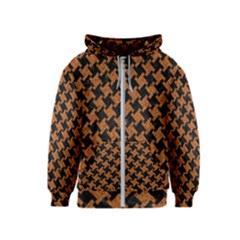 HOUNDSTOOTH2 BLACK MARBLE & RUSTED METAL Kids  Zipper Hoodie